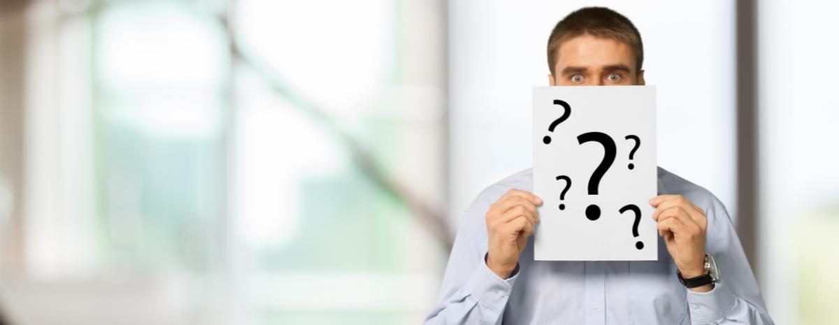 businessman, question marks